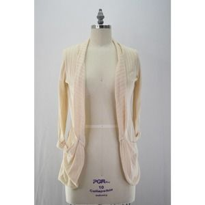 Pins & Needles 3/4 Sleeve Open Knit Cardigan Cream